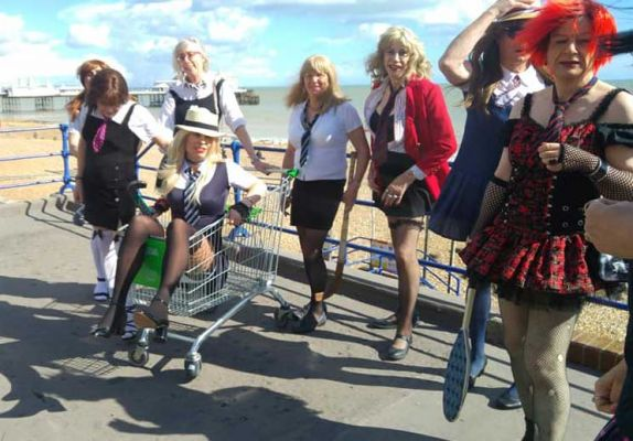 St.Trinians girls on seafront, Photo by Steph Morgan